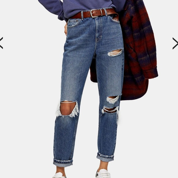 Topshop Denim - Topshop Ripped Mom Jeans